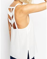 ASOS | White High Neck Cami Top With Strappy Back Detail | Lyst