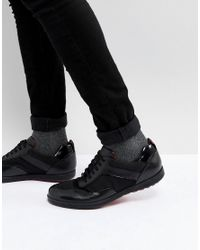 HUGO - Flat Lowp Mix Media Trainers In Black for Men - Lyst