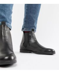 H by Hudson Wide Fit Atherston Chelsea Boots In Black Leather for men