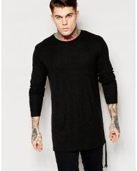ASOS | Black Wool Mix Jersey Longline Long Sleeve T-shirt With Drawstring Hem Detail for Men | Lyst