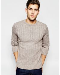 ASOS | Cable Knit Jumper In Brown for Men | Lyst