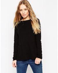 ASOS - Black Sweater With Fringe Back Detail - Lyst