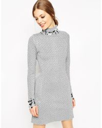 ASOS - Mini Dress In Metallic Pattern Knit With Sequin Detail - Lyst