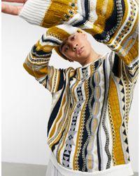 Трикотажный Джемпер С Фактурным Узором Нейтральных Тонов ASOS для него, цвет: Multicolor