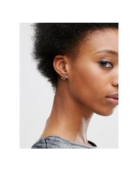 ASOS - Multicolor Mini Bar Bell Hoop Stud Earrings - Lyst