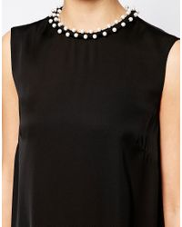 French Connection Black Dress With Encrusted Neckline