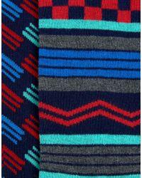 Urban Eccentric | Blue Geo Stripe Socks In 2 Pack - Multi | Lyst