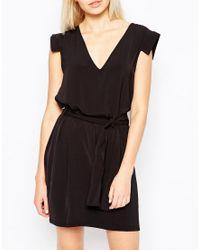 Monki | Black Tie Waist Dress | Lyst