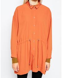 Monki - Brown Relaxed Blouse With Drawstring Waist - Lyst