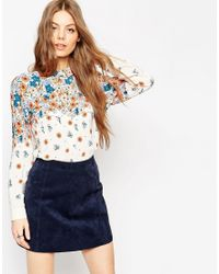 ASOS | Blue Placement Print Ditsy Floral Blouse | Lyst