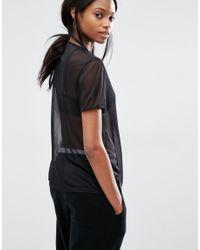 Missguided - Black Mesh T-shirt - Lyst