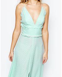 Jarlo - Blue Edith Button Front Lace Insert Flutter Sleeve Maxi Dress - Soft Mint - Lyst