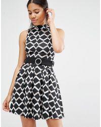 Love Black Belted High Neck Dress In Geometric Print