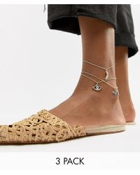 ASOS - Metallic Design Pack Of 3 Anklets With Multi Charms In Gold - Lyst