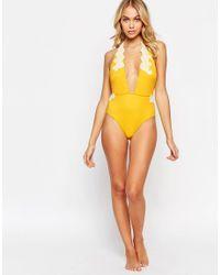 ASOS Yellow Crochet Applique Trim Plunge Swimsuit
