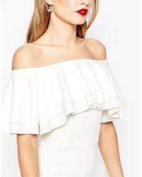 ASOS White Asos Double Ruffle Midi Pencil Dress