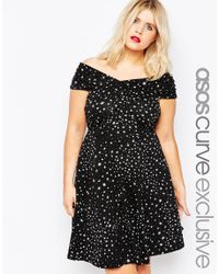 ASOS - Black Twist Bardot Skater Dress In Ditsy Star Print - Lyst