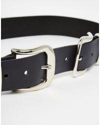 Retro Luxe London - Black Leather Double Buckle Western Belt - Lyst