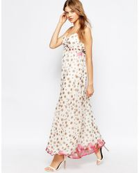 Traffic People - White Silk Cami Maxi Dress In Polka Dot Print - Lyst