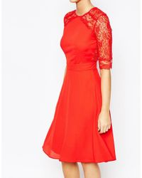 Elise Ryan | Red 3/4 Lace Dress | Lyst