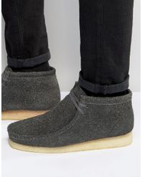 Clarks - Gray Wooly Wallabee Boots for Men - Lyst