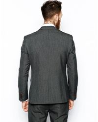 ASOS Gray Slim Suit Jacket In Grey Dogstooth for men