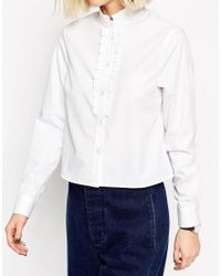 ASOS - White Frill Neck Shirt With Frill Placket - Lyst