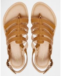 Park Lane Strappy Leather Flat Sandals In Brown Lyst