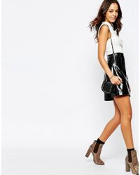 New Look - Black Patent Pu A-line Skirt - Lyst