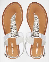 London Rebel - Gray Embellished Toepost Leather Flat Sandals - Lyst