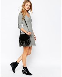 Glamorous | Gray Knitted Rib Tea Dress | Lyst