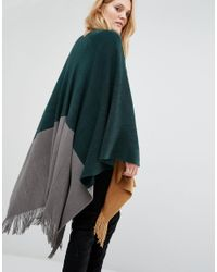 Y.A.S Blue Mila Knitted Poncho In Colourblock