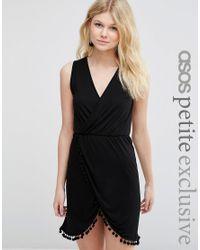 ASOS | Black Wrap Front Beach Dress With Pom Poms | Lyst