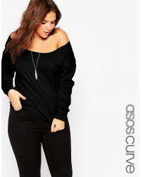 ASOS | Black Curve Off Shoulder Sweatshirt for Men | Lyst