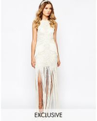 A Star Is Born Bridal Luxe Embellished Maxi Dress With Fringe Skirt - White