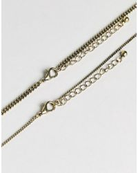 Reclaimed (vintage) - Metallic Inspired Pendant & Chain Necklace In 2 Pack Exclusive To Asos for Men - Lyst