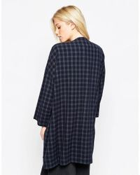 Native Youth   Blue Checked Duster Coat   Lyst