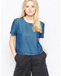 Native Youth | Blue Denim Tencel Boxy Top | Lyst