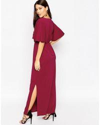 ASOS - Purple Crepe Kimono Maxi Dress - Lyst