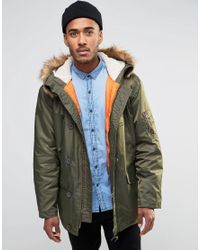 Farah | Green Hooded Parka Coat With Faux Fur Trim Hood for Men | Lyst