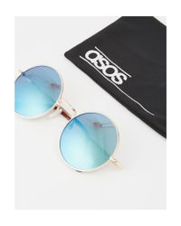 ASOS - Metallic Metal Round Sunglasses In Brushed Gold With Blue Lens for Men - Lyst
