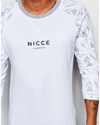 Nicce London - White 3/4 Printed Sleeve Raglan T-shirt for Men - Lyst