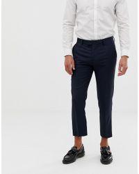 Pantalones capri ajustados de franela Farah de hombre de color Blue