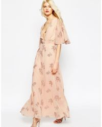 ASOS - Multicolor Flutter Sleeve Maxi Dress With Pretty Florals - Lyst