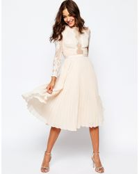 ASOS - Pink Asos Wedding Pretty Lace Eyelash Pleated Midi Dress - Lyst