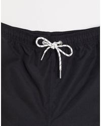 PLUS - Pantaloncini da bagno tinta unita neri di New Look in Black da Uomo