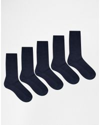 ASOS | Blue Waffle Socks 5 Pack In Navy Save for Men | Lyst