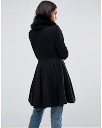ASOS - Black Asos Swing Coat With Faux Fur Collar - Lyst