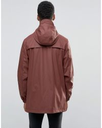 D-Struct Red Mid Length Water-resistant Jacket With Hood for men