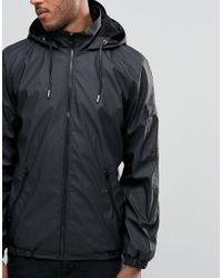 D-Struct Black Water-resistant Runner Jacket With Hood for men